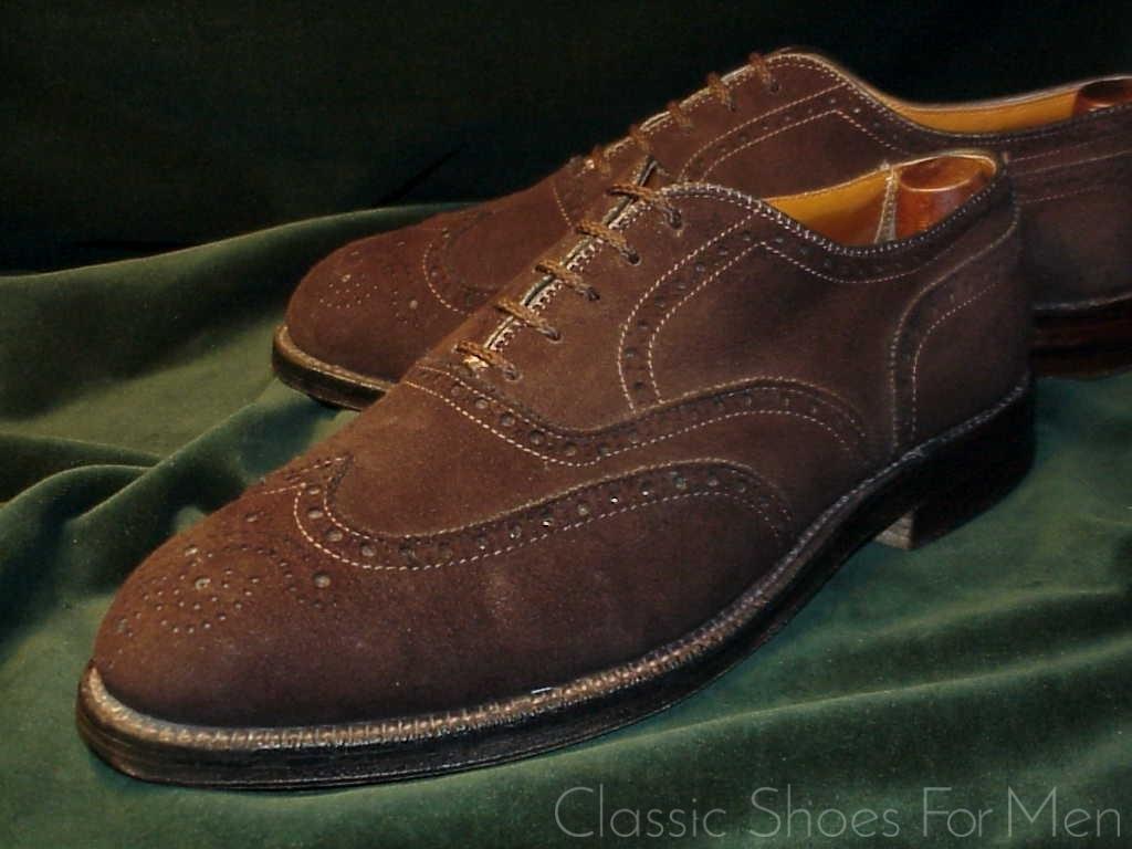 wholesale dealer 9aa25 b2e15 *ALDEN Suede-Wildleder, Full Wing-Tip Brogue Oxford: 41E