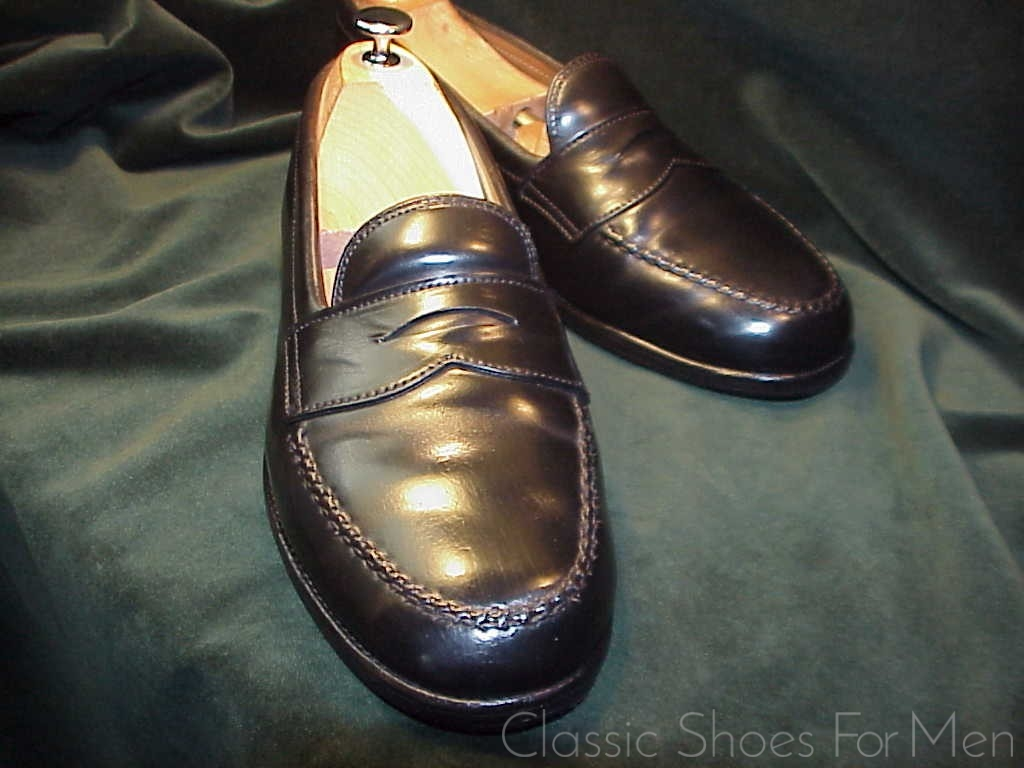 "9eee18331737c english. ALDEN for. Brooks Brothers San Francisco ""Hand Sewn Apron"" Shell  Cordovan Penny Loafer"
