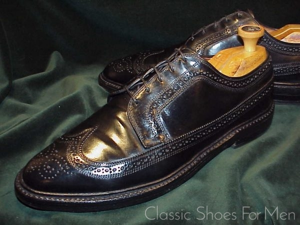 Allen Edmonds Black Shell Cordovan Full Brogue Budapester 45D