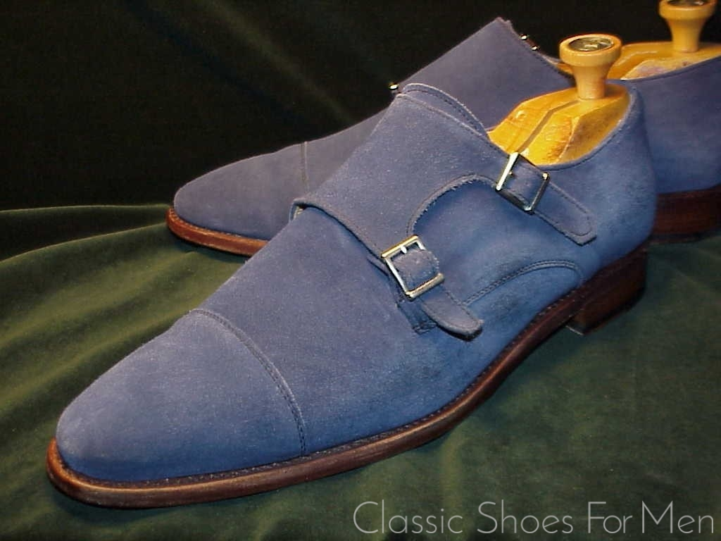 *HERRING Blue Suede Double Monk Strap