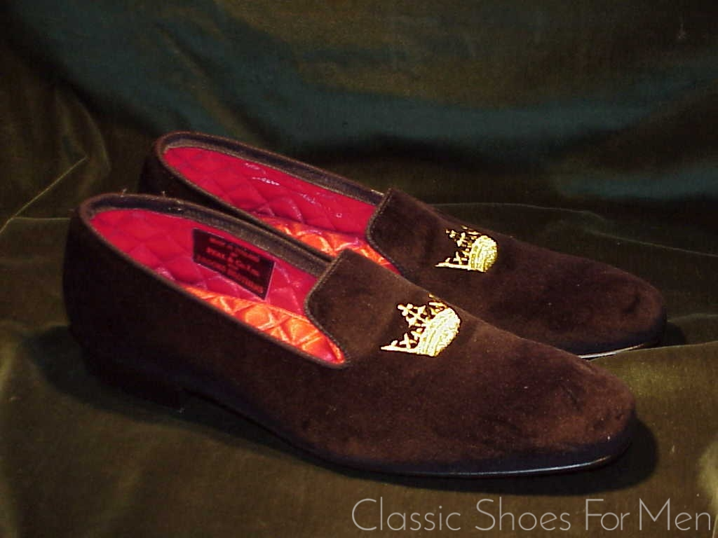 226d9e308423a english. Peal   Co. for Brooks Brothers Black Velvet-Velour Evening Slipper